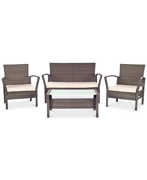 Safavieh Calann Outdoor 4-Pc. Seating Set (1 Loveseat, 2 Chairs & 1 Coffee Table), Quick Ship