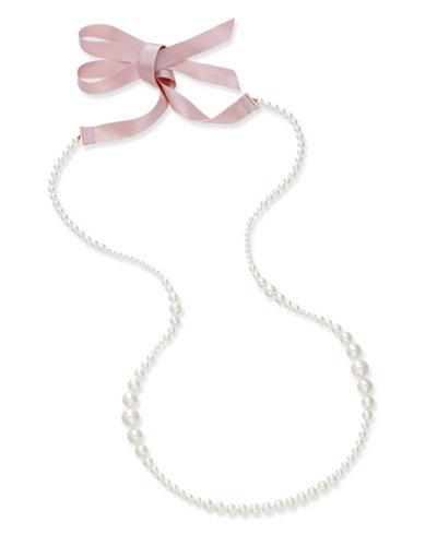 Danori Imitation Pearl and Ribbon Long Statement Necklace