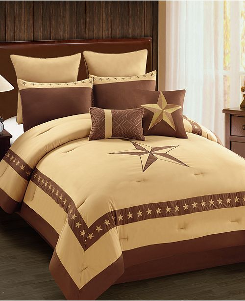 Hallmart Collectibles CLOSEOUT! Lone Star 8-Pc. Embroidered King Comforter Set