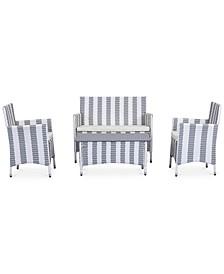 Ganton Outdoor 4-Pc. Stripe Seating Set (1 Loveseat, 2 Chairs & 1 Coffee Table)