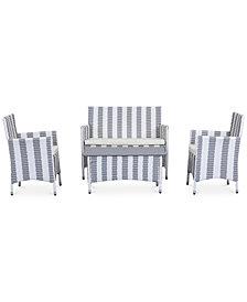 Ganton Outdoor 4-Pc. Stripe Seating Set (1 Loveseat, 2 Chairs & 1 Coffee Table), Quick Ship