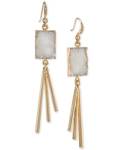 ABS by Allen Schwartz Gold-Tone White Resin Drop Earrings
