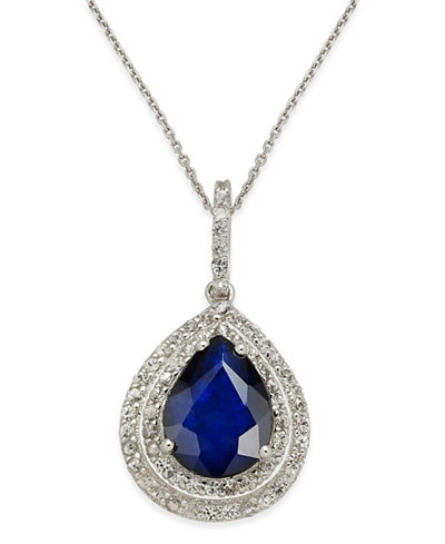 Blue Sapphire (2 ct. t.w.) & White Sapphire (1/2 ct. t.w.) Pendant Necklace in 14k White Gold, Created for Macy's