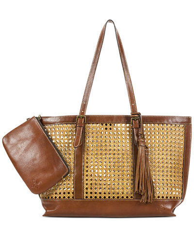 Patricia Nash Distressed Wicker Tote with Capri Clutch