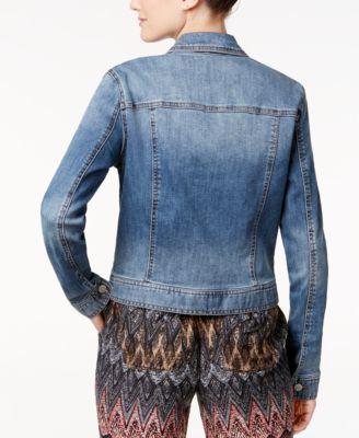 Celebrity Pink Womens Juniors Boxy Distressed Classic Denim Jacket