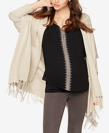 Ella Moss Maternity Open-Front Fringed Cardigan