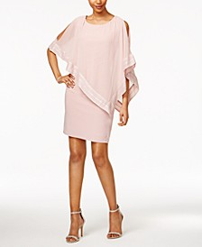Metallic-Trim Capelet Sheath Dress