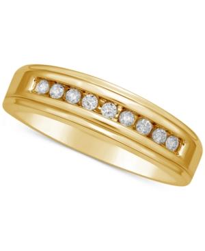 Men's Diamond Channel Set Band (1/5 ct. t.w.) in 14k Gold -  Macy's