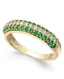 Emerald (1/2 ct. t.w.) & Diamond (1/4 ct. t.w.) Ring in 14k White Gold