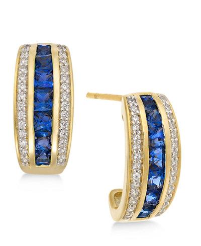 Sapphire (1-3/4 ct. t.w.) & Diamond (1/5 ct. t.w.) Earrings in 14k Gold (Also Emerald & Certified Ruby)
