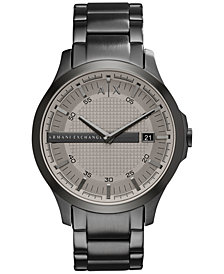 A|X Armani Exchange Men's Gunmetal-Tone Stainless Steel Bracelet Watch 46mm AX2194