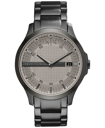 A|X Armani Exchange Men's Gunmetal-Tone Stainless Steel Bracelet Watch 46mm AX2194