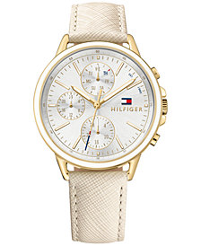 Tommy Hilfiger Women's Sophisticated Sport Nude Saffiano Leather Strap Watch 40mm 1781790