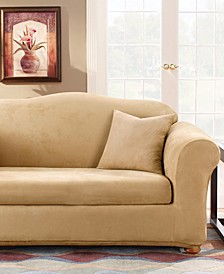 Stretch Faux Suede 2-Piece Loveseat Slipcover