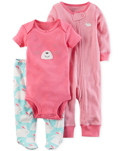 Carter's 3-Pc. Cotton Bunny Bodysuit, Coverall & Footed Pants Set, Baby Girls