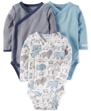 Carters 3Pk Cotton SideSnap Bodysuits Baby Boys (024 months)