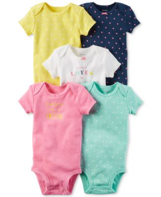 Image of Carter's 5-Pk. Dot-Print Bodysuits, Baby Girls (0-24 months)