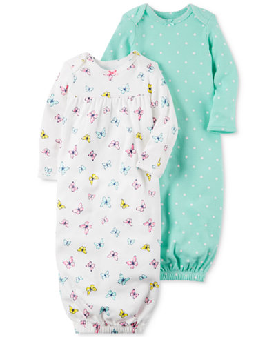 Carter\'s 2-Pk. Floral & Dots Cotton Sleeper Gowns, Baby Girls ...