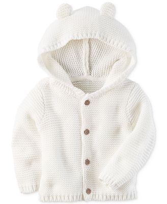 Carter's Hooded Ears Cotton Cardigan, Baby Boys & Girls (0-24 ...