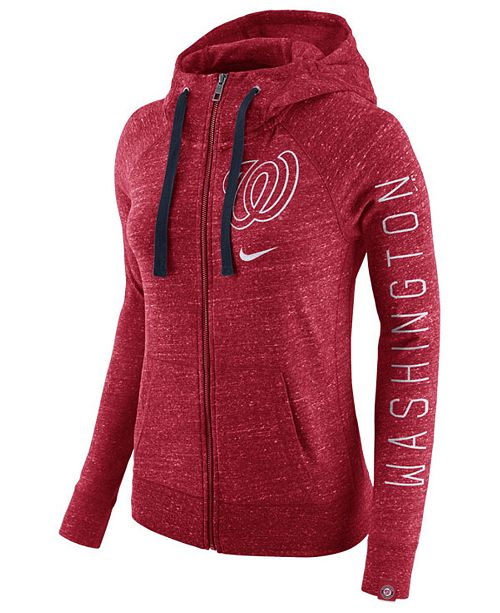 Nike Women's Washington Nationals Gym Vintage Full-Zip Hooded Sweatshirt