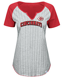 Majestic Women's Cincinnati Reds From The Stretch Pinstripe T-Shirt