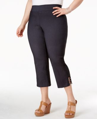 Image of JM Collection Plus Size Lattice-Hem Capri Pants, Only at Macy's