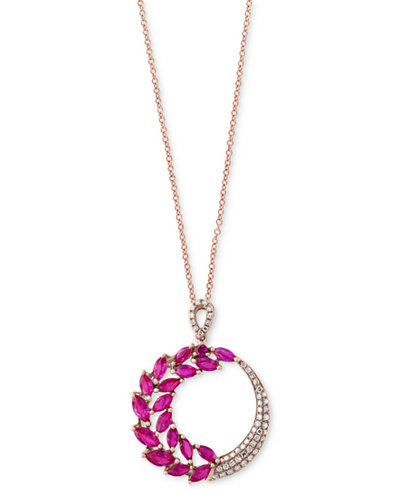 Amoré by EFFY® Ruby (2-1/10 ct. t.w.) and Diamond (1/5 ct. t.w.) Pendant Necklace in 14k Rose Gold