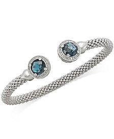 Blue Topaz (5 ct. t.w.) and Diamond (1/3 ct. t.w.) Popcorn Mesh Bangle Bracelet in Sterling Silver