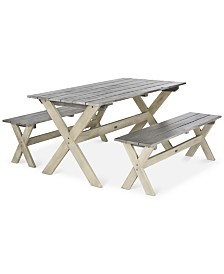 Eliana Outdoor 3-Pc. Picnic Dining Table Set, Quick Ship