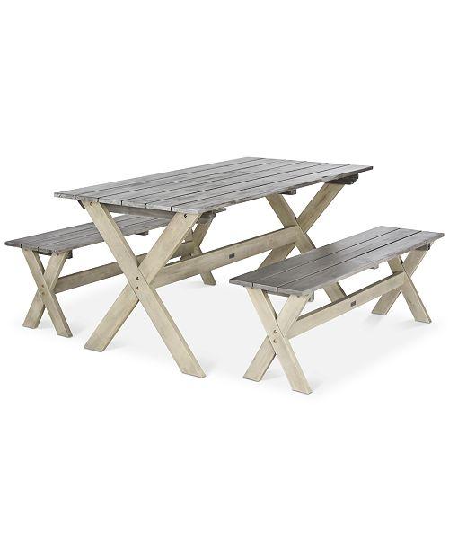 Safavieh Eliana Outdoor 3 Pc Picnic Dining Table Set Quick Ship