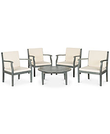 Fadell Outdoor 5-Pc. Seating Set (4 Chairs & 1 Coffee Table), Quick Ship