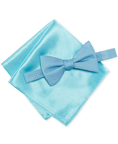 Alfani Men's Blue Bow Tie & Pocket Square Set, Created for Macy's