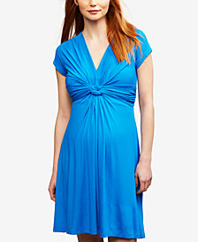 Seraphine Maternity Twist-Front A-Line Dress
