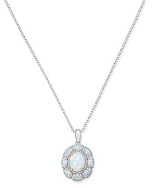 Opal Flower Pendant Necklace (2-1/5 ct. t.w.) in Sterling Silver