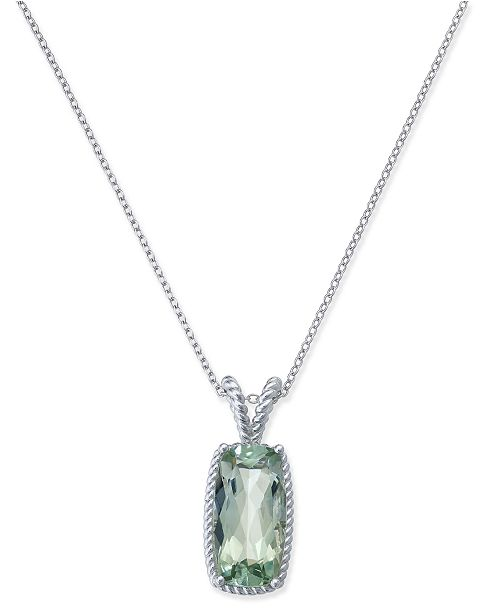 Macys green amethyst pendant necklace 5 ct tw in sterling main image aloadofball Image collections