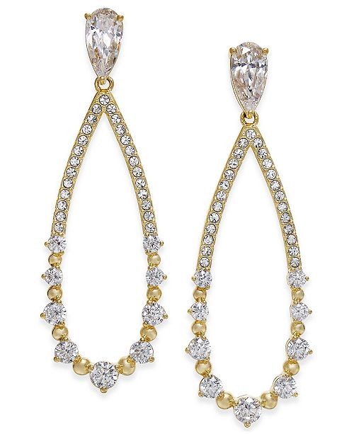 Danori Open Teardrop Crystal Drop Earrings, Created for Macy's