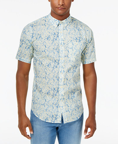 Ezekiel Men's Bali Floral-Print Cotton Shirt - Casual Button-Down ...