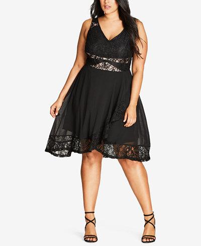 City Chic Trendy Plus Size Lace-Trim Fit & Flare Dress