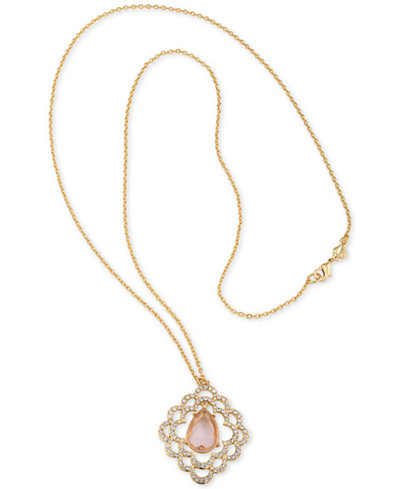 Carolee Gold-Tone Pavé & Pink Stone Scalloped Pendant Necklaces