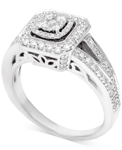 Diamond Halo Cluster Engagement Ring (5/8 ct. t.w.) in 14k White Gold