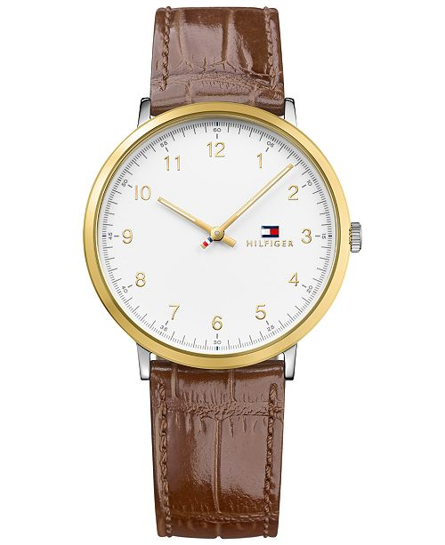 Tommy Hilfiger Men's Brown Embossed Leather Strap Watch 40mm 1791340