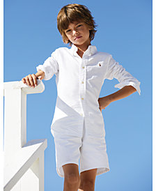 Ralph Lauren Blake Oxford Shirt & Lightweight Cotton Shorts, Toddler & Little Boys