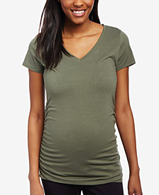 Motherhood Maternity Ruched V-Neck T-Shirt