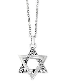 EFFY® Men's Textured Star Pendant Necklace in Sterling Silver