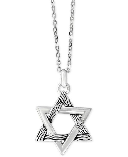 EFFY Collection EFFY® Men's Textured Star Pendant Necklace in Sterling Silver