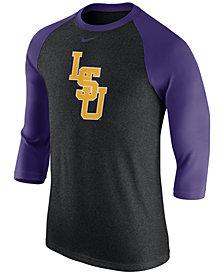 Nike Men's LSU Tigers Triblend Logo 3/4 Sleeve Raglan T-Shirt