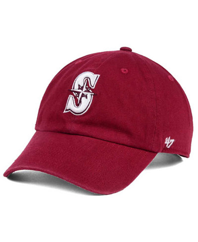 '47 Brand Seattle Mariners Cardinal and White Clean Up Cap