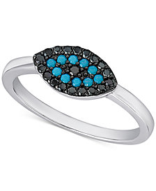 Manufactured Turquoise and Black Crystal Evil-Eye Ring in Sterling Silver