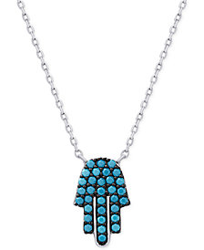 Manufactured Turquoise Hamsa Necklace in Sterling Silver