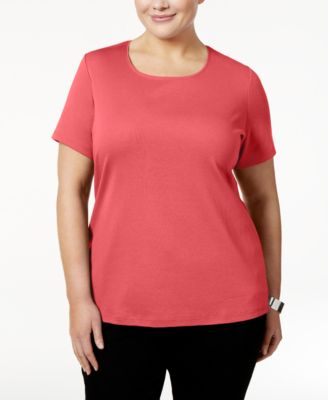 Image of Karen Scott Plus Size Cotton Scoop-Neck T-Shirt, Created for Macy's